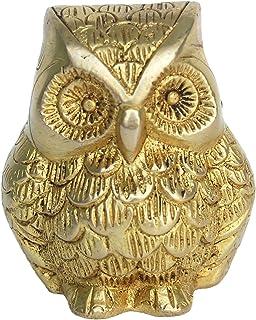 Aakrati Brass Animal Figure of Owl - Metal Decor Decorative Table showpiece - Vintage Handmade Handicraft Gift