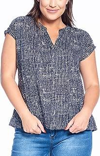 Talent Plus Women's Junior Plus Size Patterned Loose Fit V-Neck Short Sleeve Top