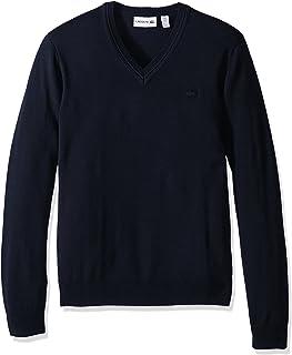 Men's 100% Lambswool V Neck Sweater with Tonal Croc,...