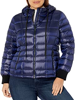 Calvin Klein womens womens plus size short packable with scuba cuffs Down Coat