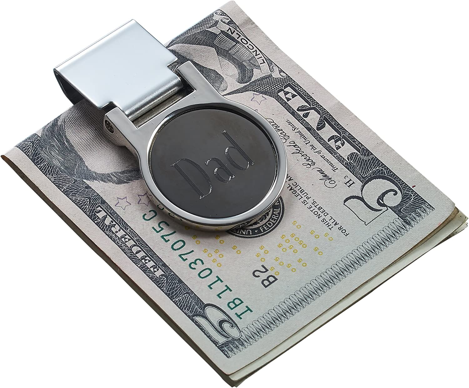 Personalized Stainless Steel & Gunmetal Hinged Money Clip with Free Engraving