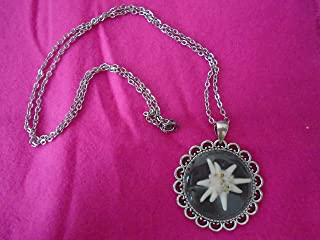 Edeweiss Necklace Deluxe Real Flower Pendant Chain Germany Alps Silvertone Black White