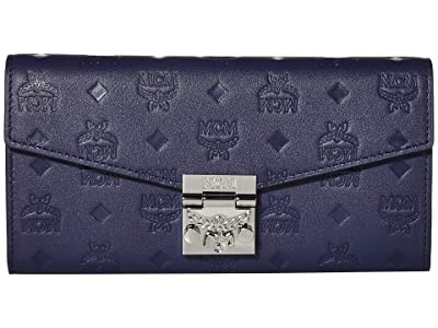 MCM Patricia Monogrammed Leather Flap Wallet/Two-Fold Large (Navy Blue) Handbags
