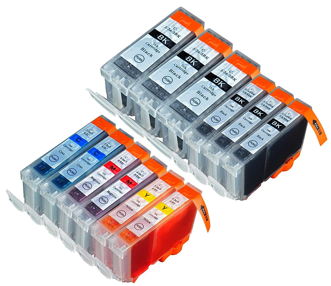 12 Pack Compatible Canon CLI 8 , CLI-8 , CLI8 , PGI 5 , PGI-5 , PGI5 3 Small Black, 3 Big Black, 2 Cyan, 2 Magenta, 2 Yellow for use with Canon Pixma iP4200, Pixma iP4300, Pixma iP4500, Pixma iP5200, Pixma iP5200R, Pixma MP500, Pixma MP530, Pixma MP600, Pixma MP610, Pixma MP800, Pixma MP800R, Pixma MP810, Pixma MP830, Pixma MX850 for inkjet printers. PGI-5BK, CLI-8BK, CLI-8C, CLI-8M, CLI-8Y Blake Printing Supply