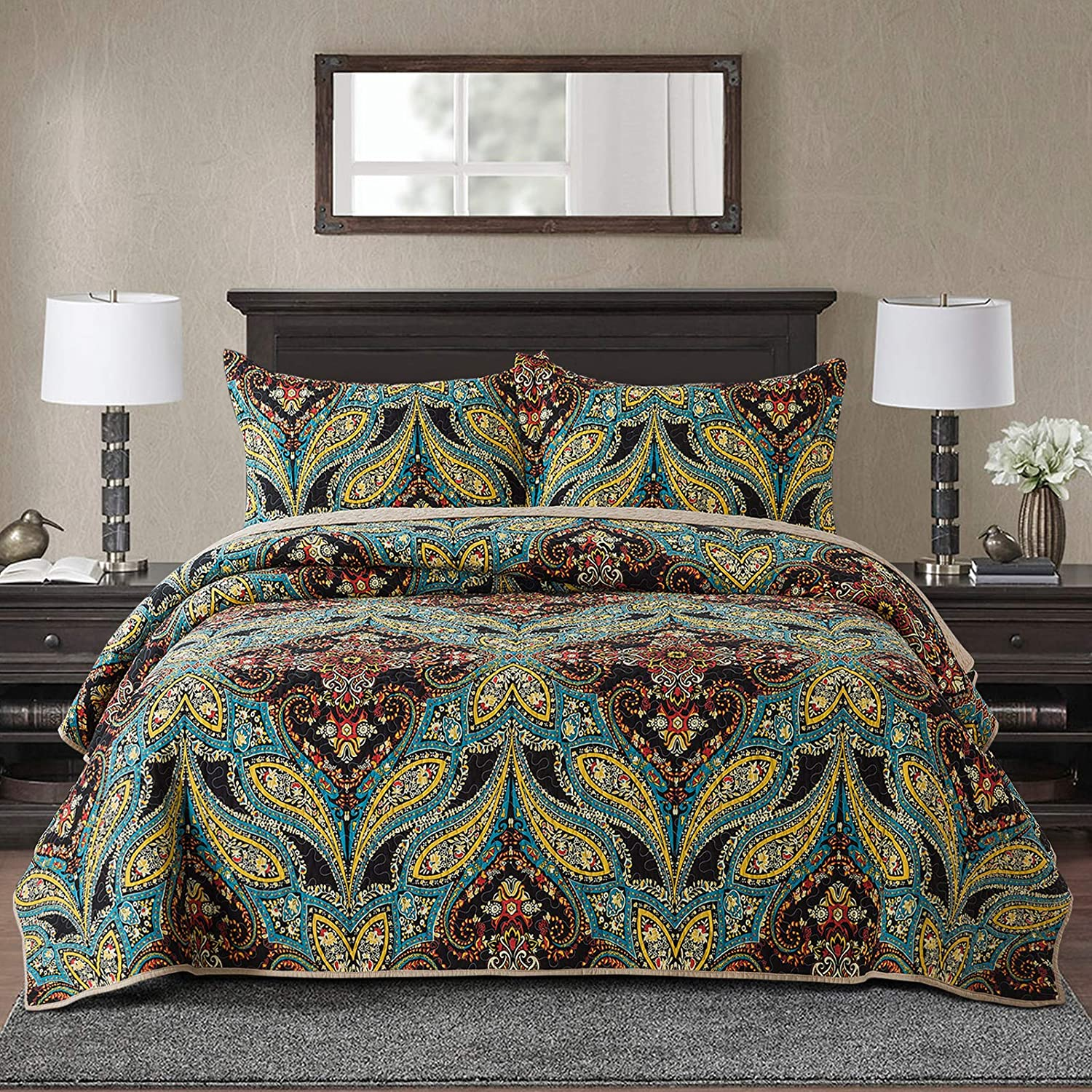 NEWLAKE Cotton Bedspread Quilt Coverle Patchwork Super special price Sets-Reversible Miami Mall