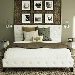 Urest Queen Size Bed Frame Platform Bed Mattress Foundation Wood Slat Support Upholstered Button Tufted Diamond Stitch with Headboard, White