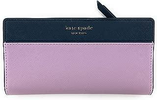 Kate Spade New York Slim Cameron Saffiano Leather Bifold Wallet (Lavender/Navyblue)
