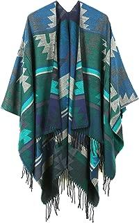 JURUAA Women's Fringed Cashmere Fleece Poncho Shawl Wrap Coat