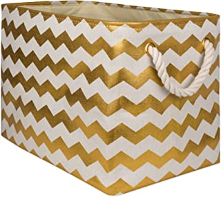 DII Collapsible Polyester Storage Basket or Bin with Durable Cotton Handles, Home Organizer Solution for Office, Bedroom Closet, Toys, Laundry, 17.75x12x15, Chevron Gold