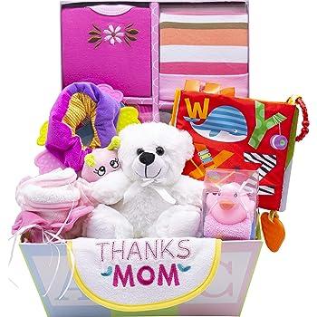 Sweet New Baby Gift Basket - Baby Boy & Baby Girl (Pink)