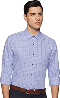 Arrow Men's Checkered Slim Fit Formal Shirt, Light Blue