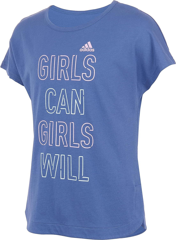adidas girls Short Sleeve Side Slit Tee T-shirt T Shirt, Crew Blue, 4-8 Years US
