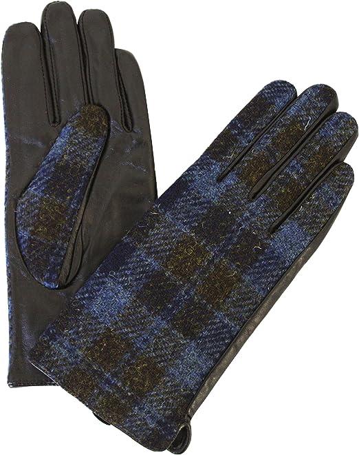 Ladies 100/% Harris Tweed /& Leather Brown Herringbone Gloves LB3001 COL5