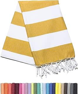 Barcelonetta | Turkish Towel | 40x69in | Beach & Bath Peshtemal | Natural, Eco-Friendly, 100% Cotton, Super Soft, Quick-Dry | Washing Machine, Dryer and Iron Safe | Made in Turkey (Matte Yellow)