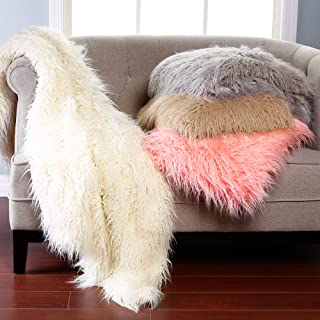 Best Home Fashion Taupe Mongolian Lamb Faux Fur Throw Blanket- 60