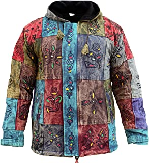 Shopoholic Fashion Men's Patchwork Hippie Fleece Lined Winter Jacket Bohemian Festival Hippy Hoodie