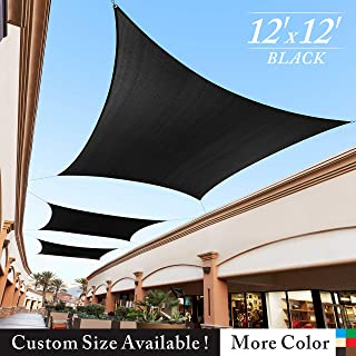 Royal Shade 12' x 12' Black Square Sun Shade Sail Canopy Outdoor Patio Fabric Shelter Cloth Screen Awning - 95% UV Protection, 200 GSM, Heavy Duty, 5 Years Warranty, We Make Custom Size