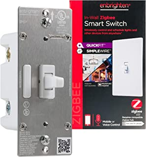 Enbrighten Zigbee Smart Light Switch with QuickFit and SimpleWire, Pairs Directly with Echo 4th Gen/Echo Show 10 (All)/Ech...