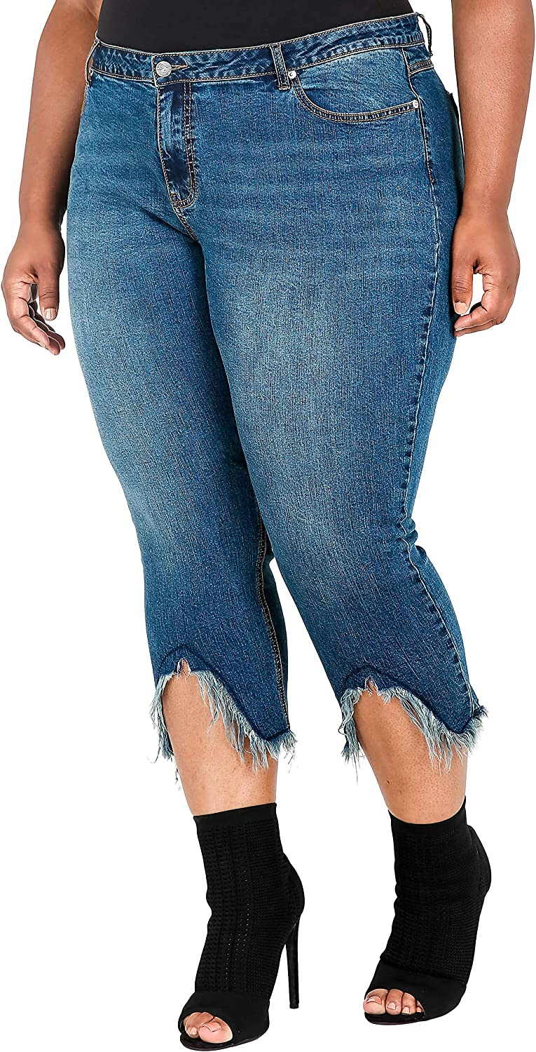 Poetic Justice Plus Size Women's Curvy Fit Cropped Frayed Step Hem Dark Jeans