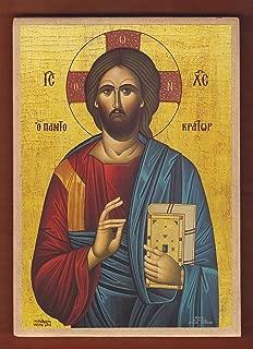 Jesus Christ PANTOCRATOR, Greek Orthodox handmade Icon on Wood.