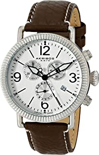 Akribos XXIV Men's Brown/Silver Swiss Chronograph Watch - Coin Edge Bezel - Matte Dial with Date Subdials and Luminosity - Leather over Nunbuck Leather with Cream Contrast Stitching Strap - AK753