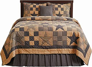 The BitLoom Co. Primitive Country, Star Patch Blue Queen 5 Piece Quilt Set