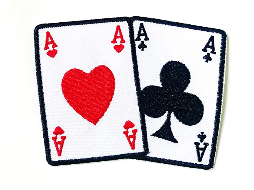 Tyga_Thai Brand Ace of Red Heart- Black Clubs Playing Card Gamble Playing Card Game Lucky Vest Jacket T-Shirt Sew on Iron on Embroidered Applique Badge Sign Patch (Iron-Ace-PlayingCard-Game)
