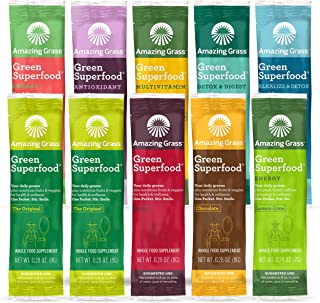 Amazing Grass Green Superfood Variety Pack: 10 Flavors of Super Greens Powder with Spirulina, Digestive Enzymes & Probioti...