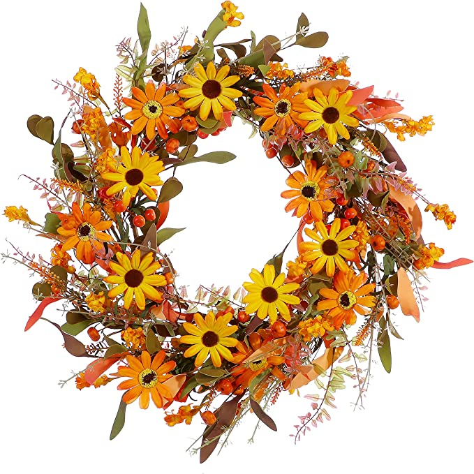 """Fall Front Door Wreath,20"""" Artificial Floral Wreath with Orange Daisies and Foliage,Autumn Wreath with Small Pumpkin and Berry for Home Wall Window and Thanksgiving Decor-Beautiful Gift Box Included"""