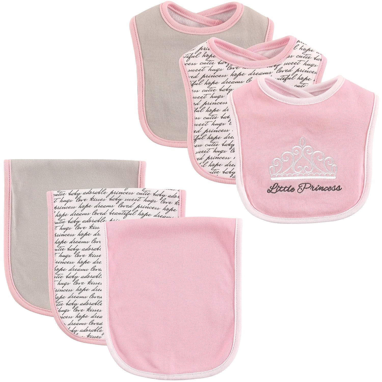 Hudson Baby Unisex Baby Cotton Bib and Burp Cloth Set, Princess, One Size: Baby
