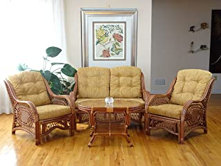 Malibu Lounge Set of 2 Natural ECO Rattan Wicker Chairs, Loveseat with Light Brown Cushion and Coffee Table w/Glass Handmade, Cognac