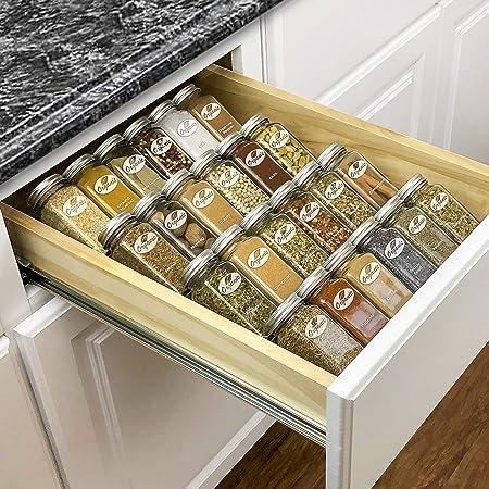 "Lynk Professional Spice Rack Tray-Heavy Gauge Steel 4 Tier Drawer Organizer for Kitchen Cabinets, 10-1/4"" Medium, Silver Metallic"