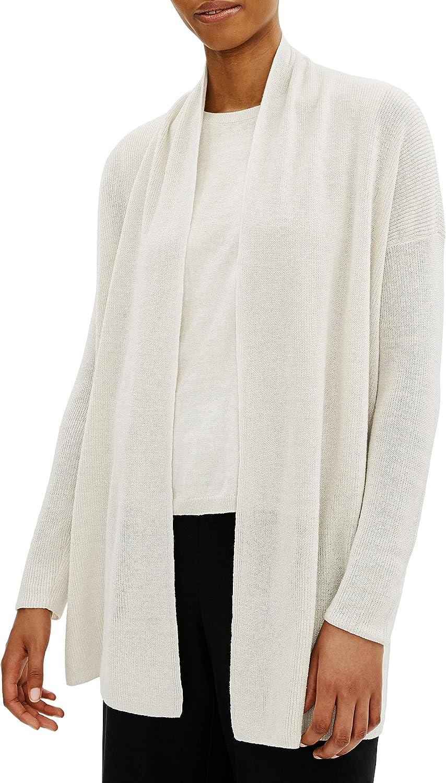 Eileen Fisher Plus Bone Organic Linen/Cotton High Collar Cardigan Size 2X MSRP $248