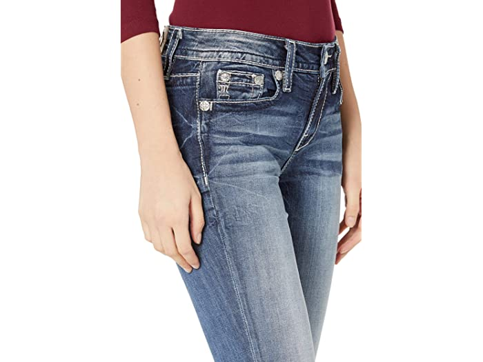 Miss Me Mid-Rise Bootcut Jeans with Dreamcatcher Pocket in Dark Blue
