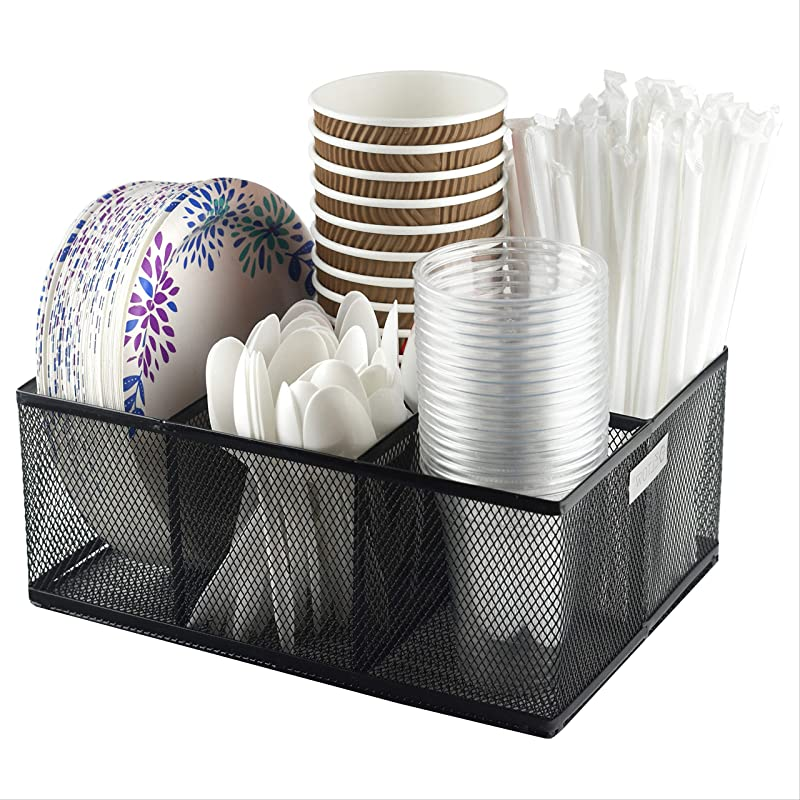 Eltow Cutlery Utensil Holder Organizer Caddy With 5 Slots For Cups Forks Spoons Plates Napkins Condiments And More Mesh Holder Is Excellent For Silverware Organization Home And Kitchen D Cor