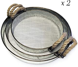 Round Metal Decorative Nesting Tray Set, Mesh Bottom with Rope Handles, Vintage Rustic Distressed Design, Serving Trays for Country Kitchen, Coffee Table, Set of 3 (2 Sets)