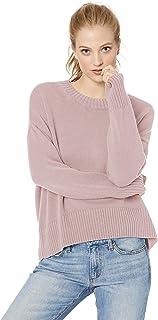 Daily Ritual suéter de Cuello Redondo, Cuadrado, 100% algodón Jersey para Mujer