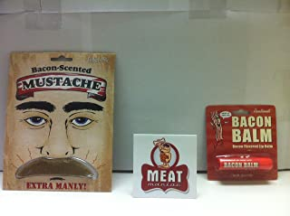 MEAT MANIAC Novelty Bacon Combo Gift Pack with Sticker- Bacon Lip Balm & Bacon Scented Mustache