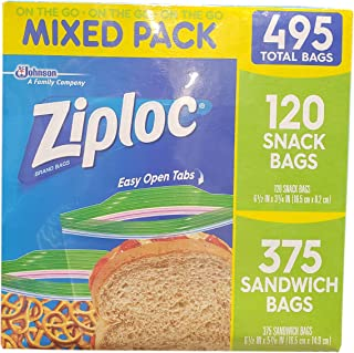 Ziploc 375 Sandwich 120 Snack Variety Pack (495 Count), 495 Count