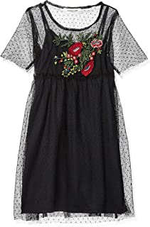 Angie Little Big Girls Swiss Dot Dress with Embroidery