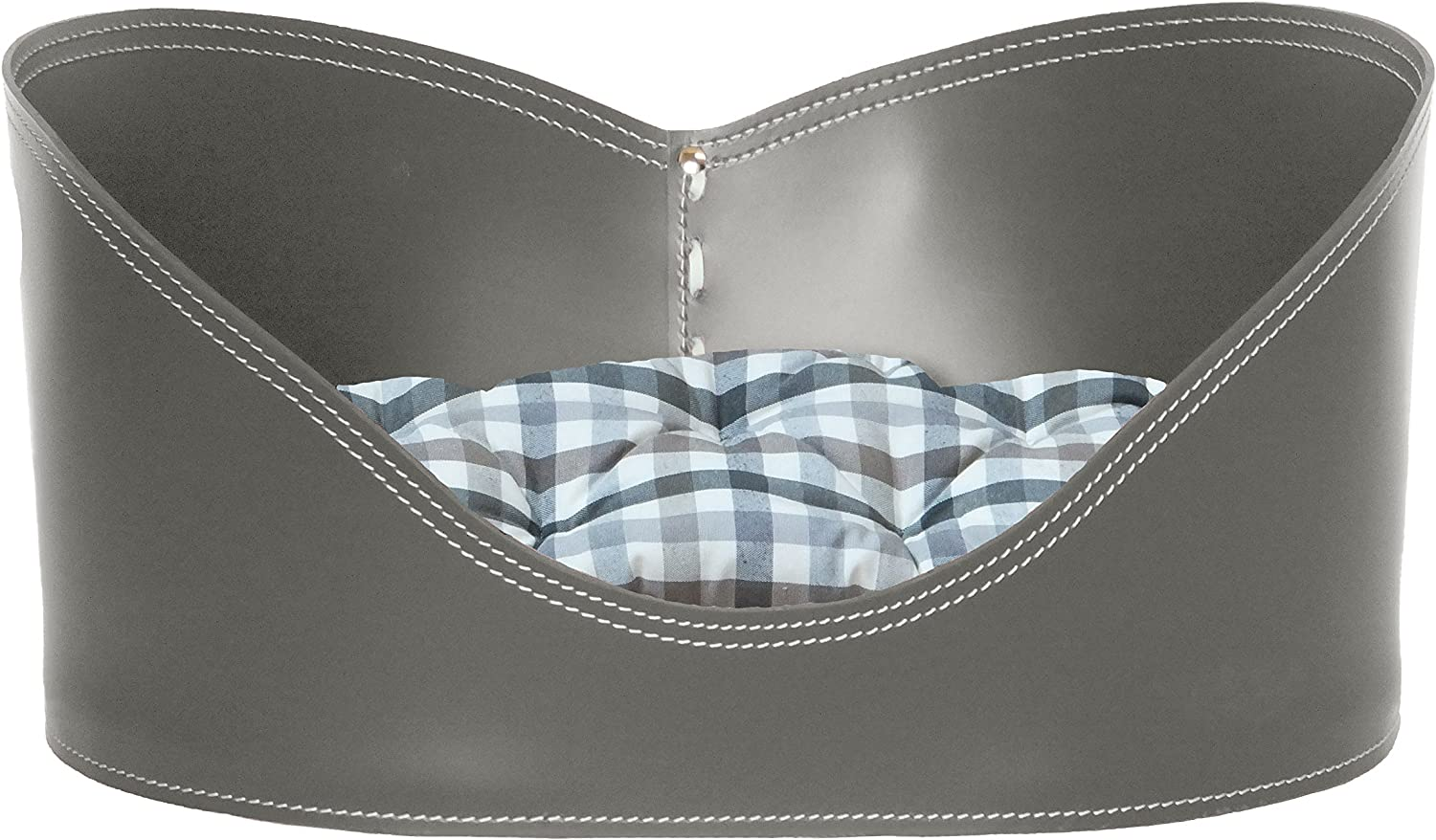 Gavemo CUORE 50  dog bed cat bed basket in leather Taupe color with pillow Gingham Fabric