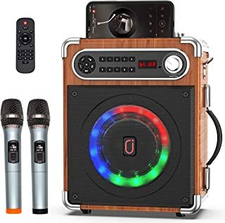 JYX Karaoke Machine with Two Wireless Microphones, Portable Bluetooth Speaker with Bass/Treble Adjustment, Remote Control ...