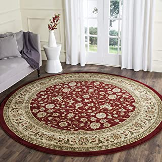 Safavieh Lyndhurst Collection LNH312A Traditional Oriental Red and Ivory Round Area Rug (5'3