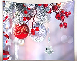 Get Orange Christmas Wall Tapestry, Red Balls Christmas Ornaments Snow and Christmas Tree Fabric Tapestry Home Decor 80X60 Inches