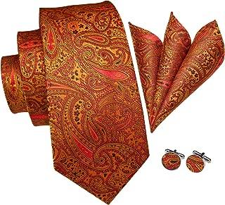 Hi-Tie Classic Paisley Necktie Jacquard Woven Silk Tie Pocket Square Cufflinks Set Gift Box