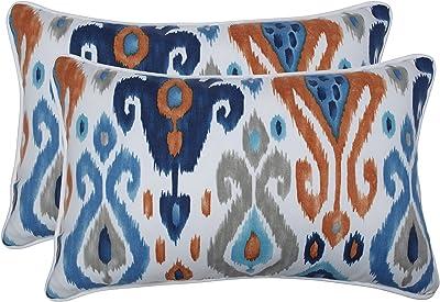 """Pillow Perfect Outdoor/Indoor Paso Azure Lumbar Pillows, 11.5"""" x 18.5"""", Blue, 2 Pack"""