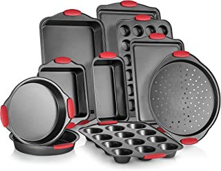 Perlli 10-Piece Nonstick Carbon Steel Bakeware Set With Red Silicone Handles | |Metal, Reusable, Quality Kitchenware For Cooking & Baking Cake Loaf, Muffins &More | Non Stick Kitchen Supplies