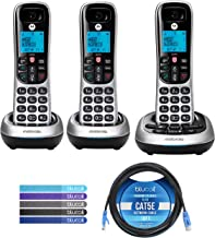 $66 » Motorola CD4013 DECT 6.0 Cordless Phones with Digital Answering Machine and Call Block (3-Pack) Bundle with Blucoil 10-FT ...