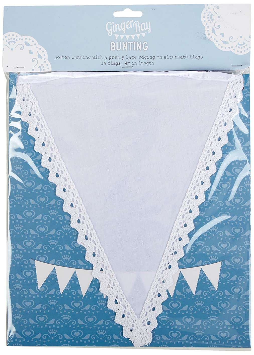 Ginger Ray VL-205 Cotton Fabric Bunting With Alternate Lace Edging Banner, White