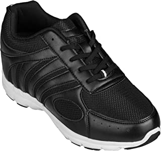 Men's Invisible Height Increasing Elevator Shoes - Black Leather/Mesh Lace-up Super Lightweight Trainer Sneakers - 3 Inches Taller - G3304